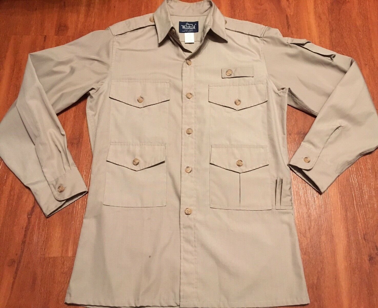 Woolrich Vintage Men's Beige Safari Long Sleeve Shirt size Small