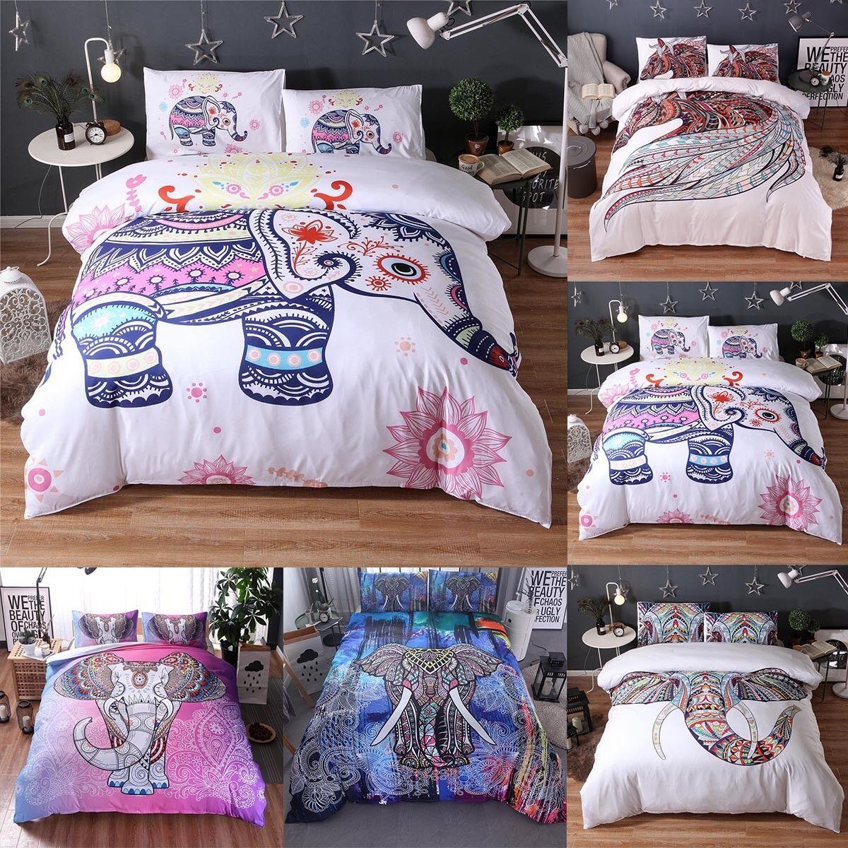 Elephant Mandala Indian Duvet Doona Cover Boho Quilt Cover Bedroom Bedding Set