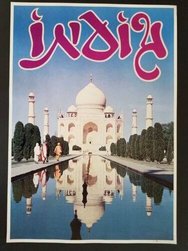 ORIGINAL 1960/'s  INDIA VINTAGE TRAVEL POSTER  TAJ MAHAL LooArt