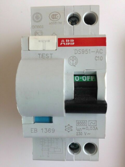 ABB DS951-C10 MCB RCD 10A AC RCBO 2 Pole 230V 6kA Circuit Breaker Test Button