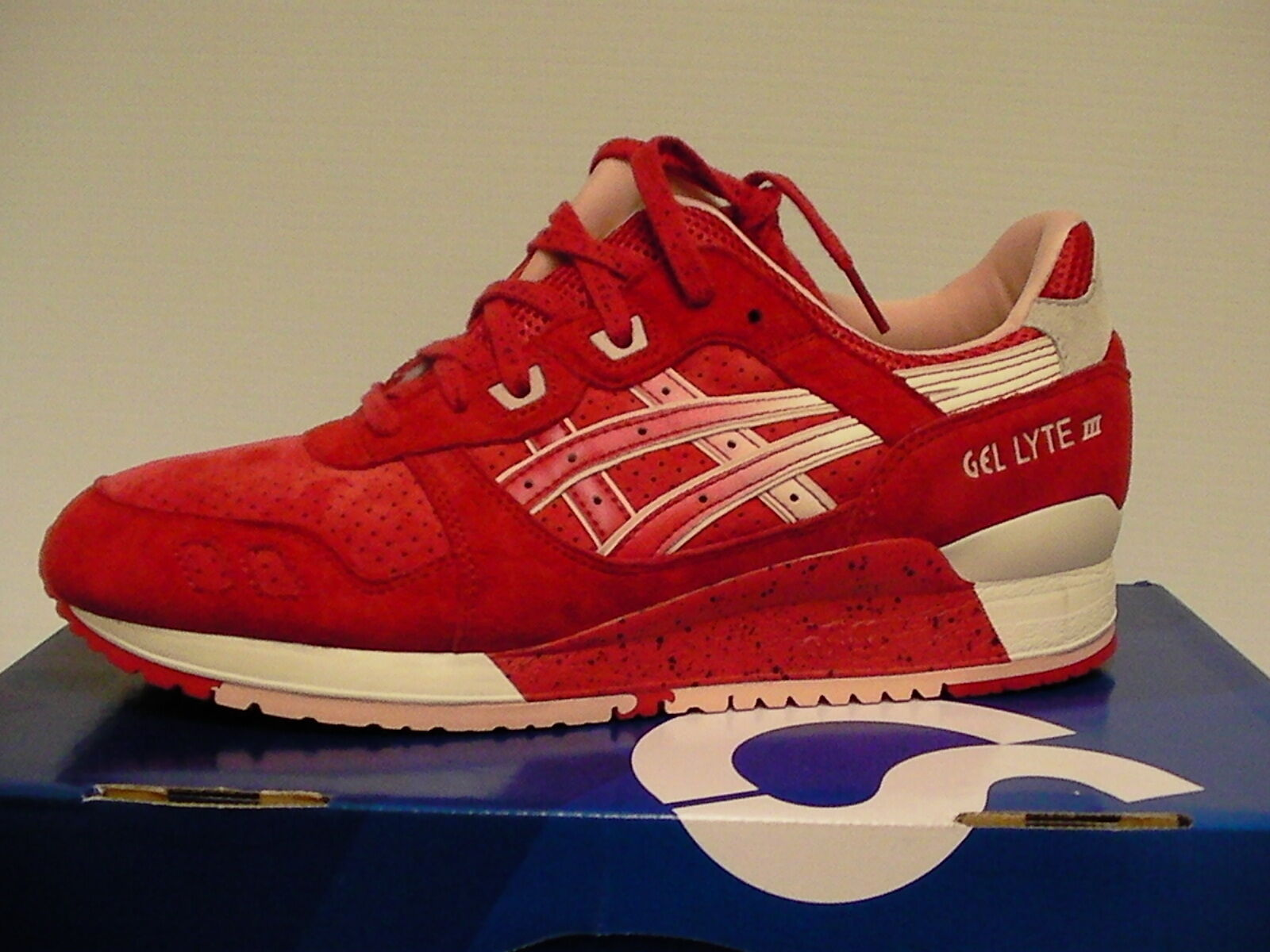 Asics Chaussures Course Gel-Lyte III Taille 7.5 Us Hommes Rouge Crème Neuf