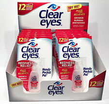 12 Pack BOX CLEAR EYES DROPS REDNESS RELIEF X12 PACKS 0.2 OZ .6 ML EXP 9/2019