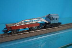 Marklin 4611 DB Crane car BLUE + 4503 Flat car