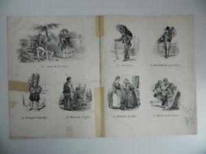 Gravur Satz Figuren Karikatur Berufe Straßen- Litho. Destouches XIX