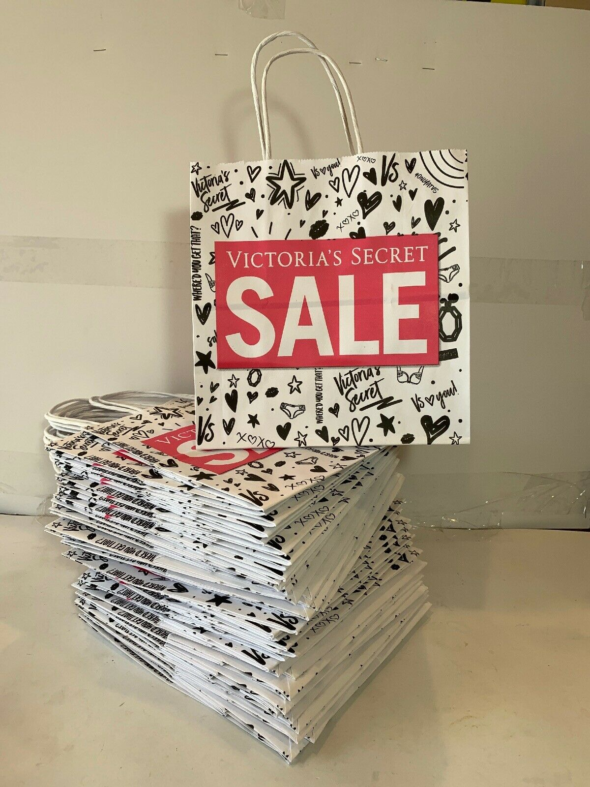 Huge Lot Of 50x Victoria's Secret Store Shopping Bags All Brand New Flat Sale