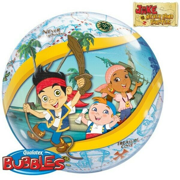 """JAKE AND THE NEVER LAND PIRATES BALLOON 22"""" SEE THRU QUALATEX BUBBLE BALLOON"""