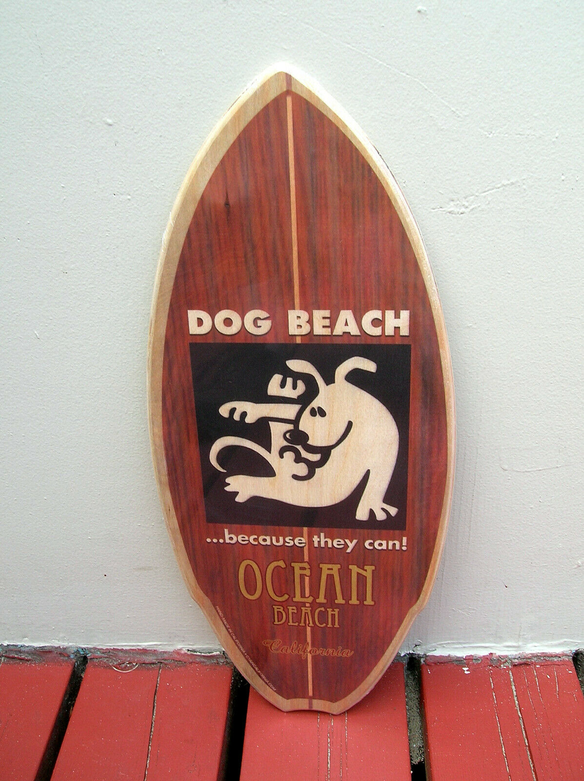 Ocean beach dog wooden mini surfboard skimboard sign surfer because they can