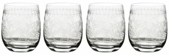Portmeirion Botanic Garden tumbler floral etched crystal glass set of 4