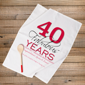 Image is loading PERSONALISED-TEA-TOWEL-RUBY-40th-WEDDING-ANNIVERSARY-GIFT- & PERSONALISED TEA TOWEL RUBY 40th WEDDING ANNIVERSARY GIFT- 40 ...