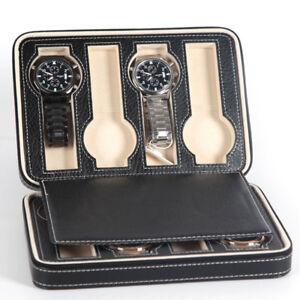 Portable-2-4-8-grilles-Travel-watch-case-en-cuir-PU-Zipper-stockage-Case-Organisateur