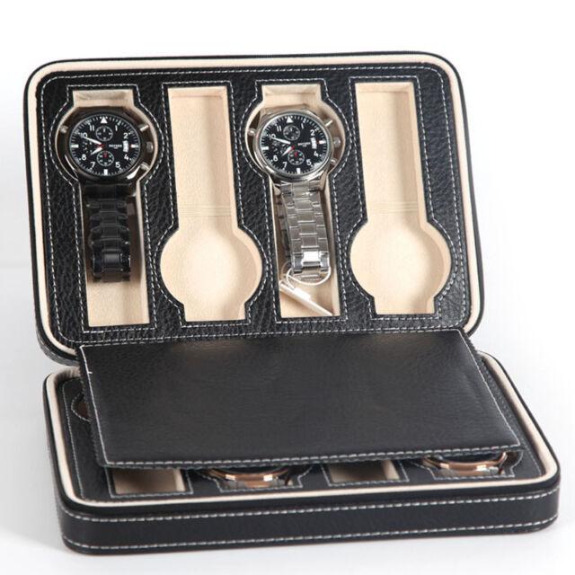 Portable 2 4 8 Grids Travel Watch Box PU Leather Zipper Storage Case Organizer