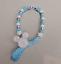 Set of 3 Personalised pram charm /&dummy clip holder for pram,carseat  light blue