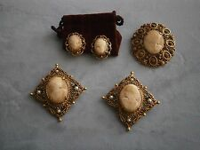 Vintage Florenza Cameo Lot 3 Brooch and Earrings Left Facing Right Facing