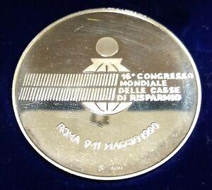 Zilveren penning 16e Wereldcongres Spaarbanken Rome 9-11 mei 1990 50 gram zilver