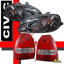 99-00 Honda Civic 3Dr Hatchback JDM Gunmetal Headlights & Tail Lights Red Clear