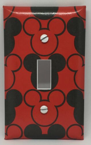 MICKEY MOUSE LIGHT SWITCH COVER PLATE RED BLACK MICKEY EARS DISNEY ROOM DECOR