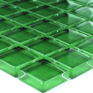 Details zu MUSTER von Glasmosaik Fliesen Grün Uni für Badezimmer  Wandfliesen Fliesenspiegel