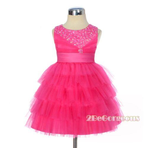 Beaded Satin Tulle Wedding Flower Girl Birthday Dress HotPink Baby Age 6m-3y 292