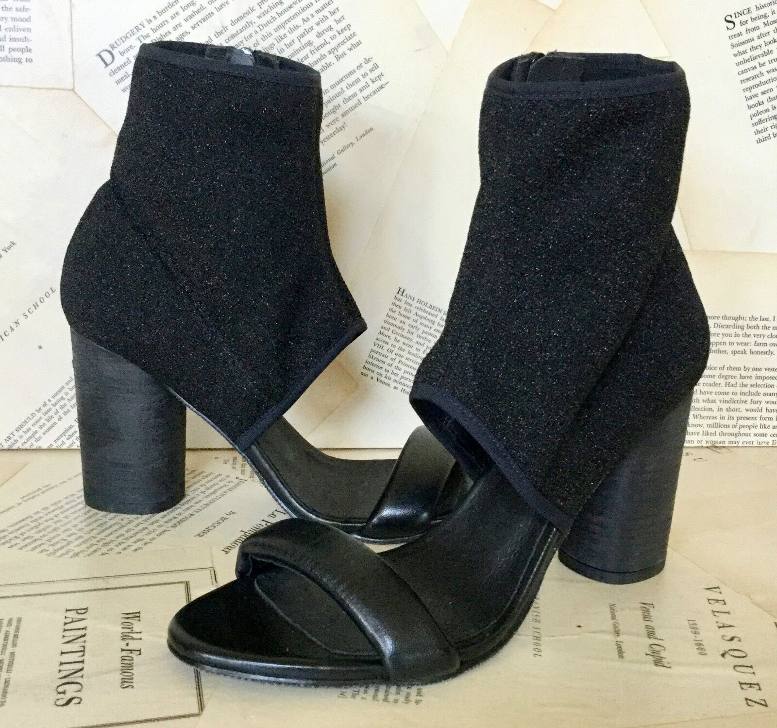 NEW Free People black Stretchy Sparkle Fabric Leather Inside Zip Sandal Boot 39