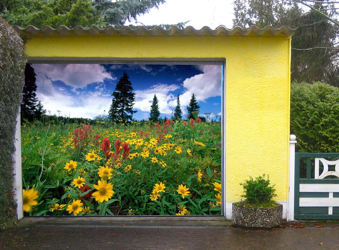 3D Pine Flowers 6 Garage Door Murals Wall Print Decal Wall AJ WALLPAPER AU Lemon