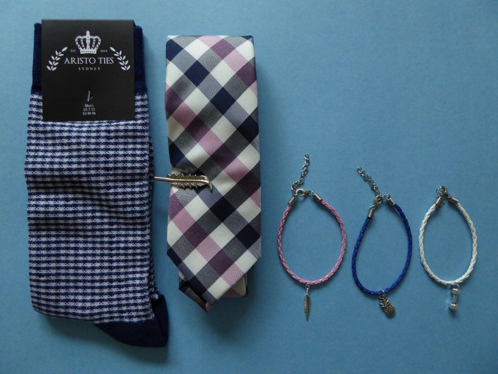 Socks + Tie + Bracelet - Men's Accessories Bedford & Broome Aristo Ties Gingham