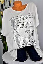 46-52 camisa túnica oversize t-shirt punta brillo corazón fuente Italy blanco
