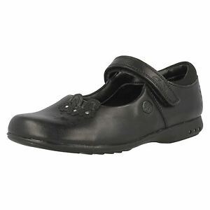 NEW CLARKS DANCE ROXY GIRLS BLACK LEATHER SCHOOL SHOES SIZE  13.5 F FIT