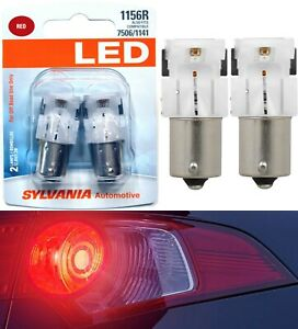 Sylvania-Premium-LED-Light-1156-Red-Two-Bulbs-Stop-Brake-Rear-Replacement-OE-Fit