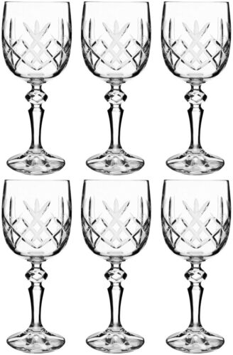 170ml NEW BOHEMIA CRYSTAL FLAMENCO 6 WINE GLASSES 17cm BOXED