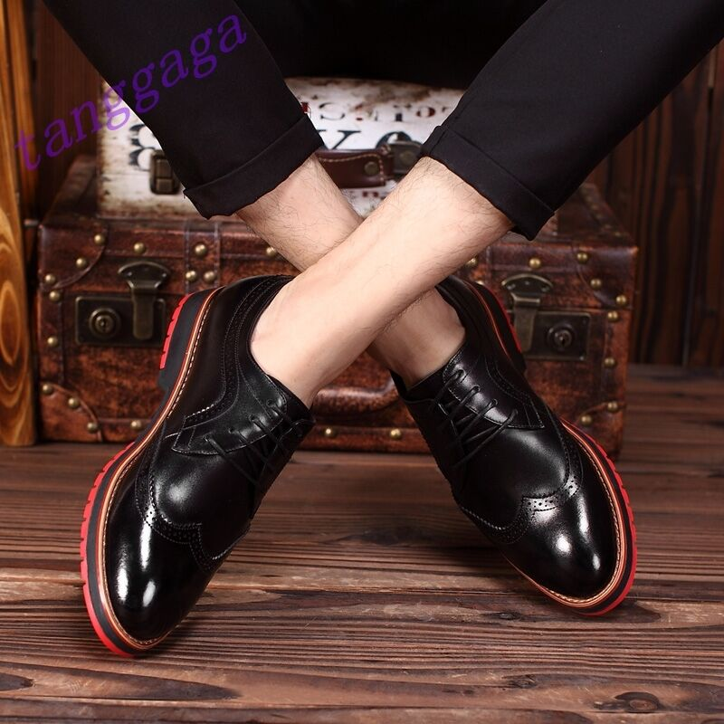 Chic British Mens Casual Lace Up Wing Tip Brogue Retro Flats Formal Dress Shoes