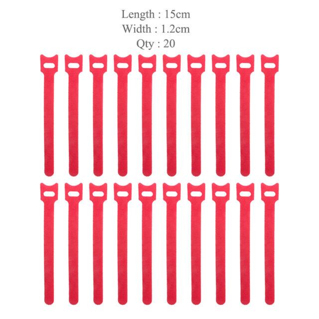 50x Nylon Self Adhesive Hook Loop Cable Ties Fastener Strap Cord Organizer 15cm