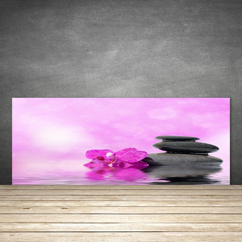 Crédence de cuisine en verre Panneau 125x50 Art Fleurs Pierres