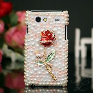 Samsung-Galaxy-S-Advance-i9070-Hard-Case-Perlen-Strass-Schutz-Hulle-Etui-3D-Rose