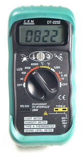 Details about CEM DT-2232 Digital Thermometer Light Humidity Sound Meter w/  Computer Interface