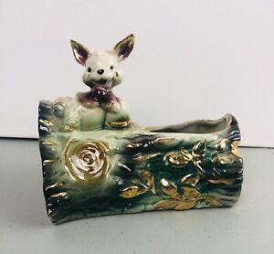Vintage-McCoy-Shafer-Bunny-on-Green-Log-Porcelain-Ceramic-Planter-23K-Gold