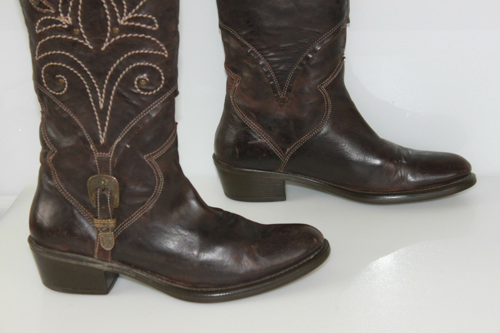 Riding Boots TREMP Leather Embroidered Dark Brown T 36 BE