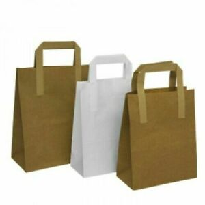 New Brown / White SOS Kraft Paper Party Wedding Gift Grocery Carrier Bags S/M/L