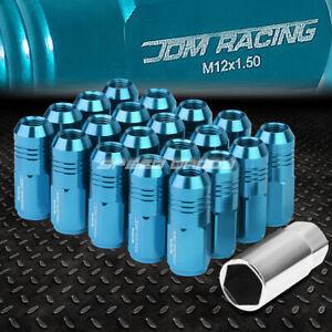 JDM CLOSED-END ALUMINUM SKY BLUE 20 LUG NUTS SET+KEY M12X1.5 20MM OD/50MM TALL
