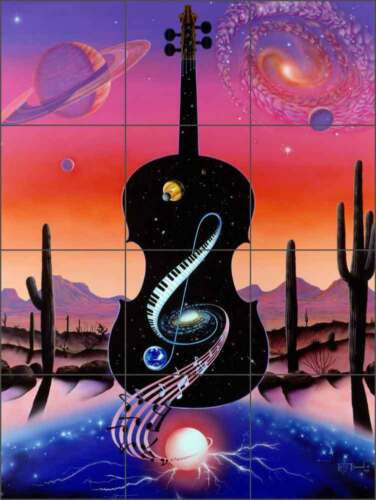 Ceramic Tile Mural Backsplash Burmann Musical Outer Space Art KB003