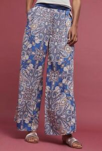 NWT-Anthropologie-Elevenses-Ines-Blue-Paisley-Print-Wide-Leg-Pants-Size-Sz-Large