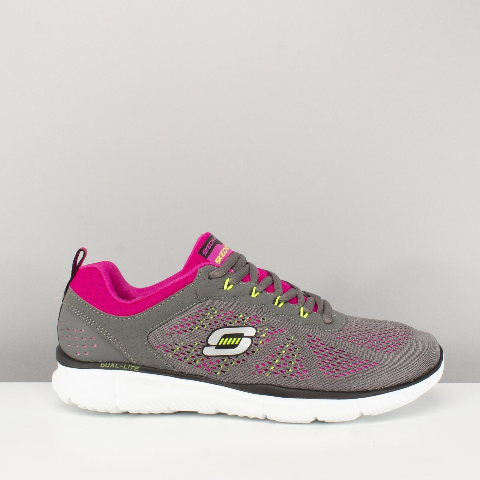 Skechers EQUALIZER NEW MILESTONE Womens Ladies Lace Up Trainers Charcoal Pink