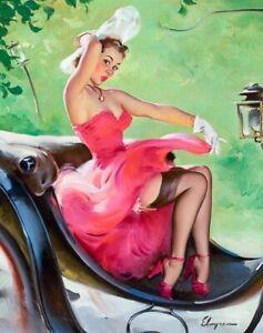 GIL ELVGREN 8x10 PIN-UP GIRL ART MINT PRINT Hot Server Girl Stockings Garters