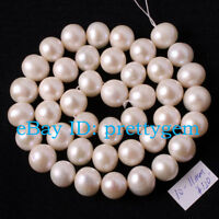 10-11MM NEARLY ROUND WHITE FRESHWATER PEARL NATURAL STONES LOOSE BEADS STRAND15""