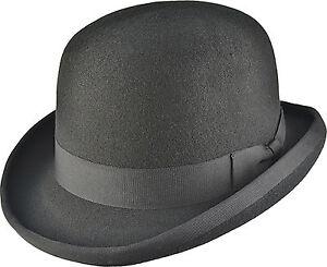 La imagen se está cargando Sombrero-Bombin -Derby-Sombrero-Alta-Calidad-Negro-Borgona- 3aea5b966a90