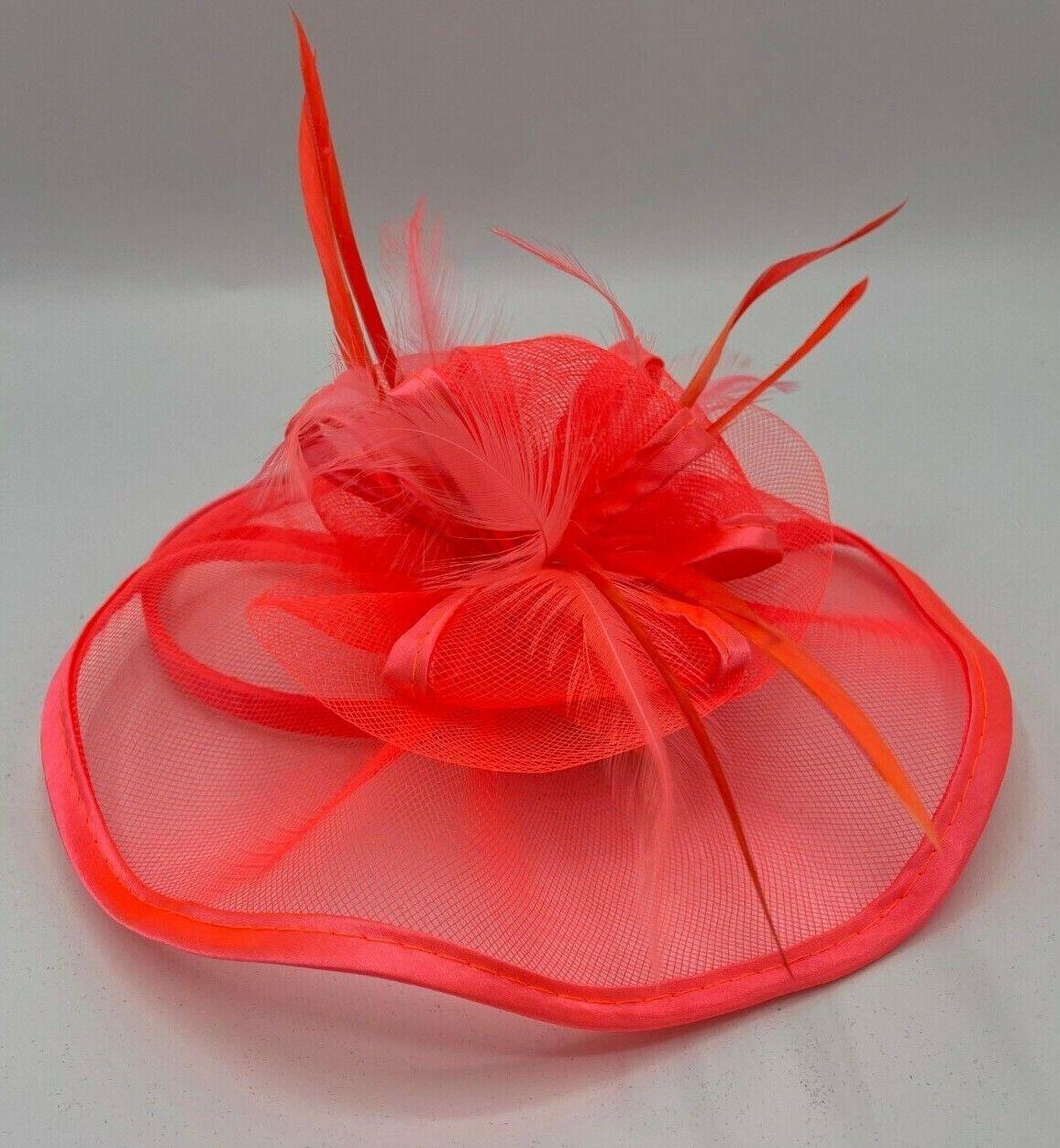 * New bright coral pink fascinator + FREE headband clip on wedding hat church