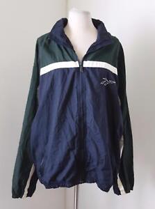 Vtg 90s Reebok Blue Green Color Block Windbreaker Track Jacket Size L Rave