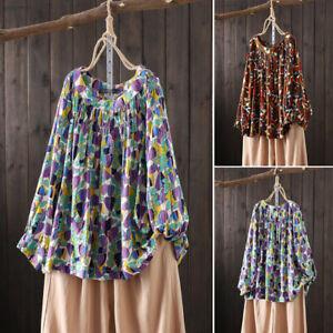 ZANZEA-Womens-Long-Sleeve-O-Neck-Printed-Shirt-Tee-Casual-Loose-Top-Tunic-Blouse