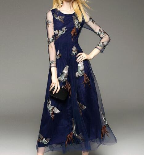 ladies elegant bird Embroidered long dress transparent sleeve maxi Slim dress sz