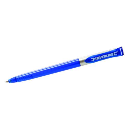 """100 x Kugelschreiber Blau /""""Silverline/"""" Kuli Blaue Mine Schule Büro Werkstatt NEU"""