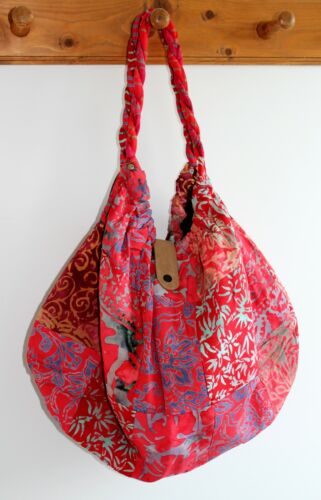 NEW LADIES WOMENS HAND SHOULDER TOTE BEACH PATCHWORK FABRIC BAG IN RED BAGRO